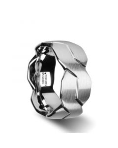 FOREVER White Tungsten Ring with Brushed Carved Infinity Symbol Design - 10mm