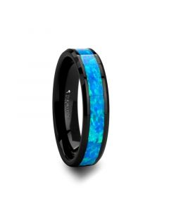 QUANTUM Black Ceramic Ring with Blue Green Opal Inlay - 4 mm