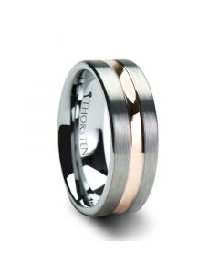 Flat Brushed Finish Tungsten Carbide Ring with Rose Gold Plated Groove - 4mm - 10mm