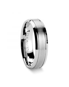 CRONUS Brushed Center with Polished Bevels Tungsten Wedding Band - 6mm & 8mm