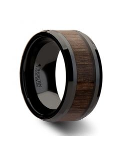 YUKON Beveled Black Ceramic Ring with Black Walnut Wood Inlay - 12mm