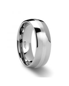 ALTHALOS Palladium Inlaid Domed Tungsten Ring 6mm or 8mm