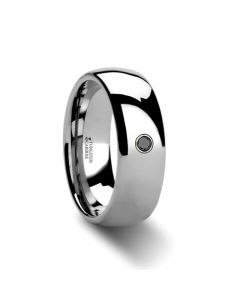 BRISBANE Domed Black Diamond Tungsten Ring - 6mm & 8mm