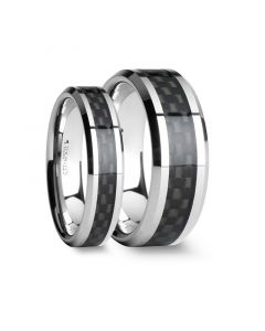 Matching Ring Set Black Carbon Fiber Inlay Tungsten Carbide Wedding Band - 4mm - 12mm
