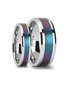 Matching Ring Set Tungsten Carbide Ring with Blue/Purple Color Changing Inlay - 4mm - 10mm