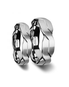 Matching Ring Set White Tungsten Ring with Brushed Carved Infinity Symbol Design - 6mm - 10mm