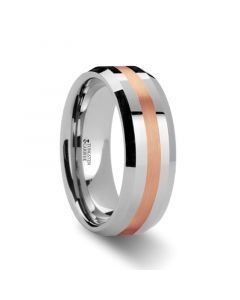 CHIRON Rose Gold Inlaid Beveled Tungsten Ring - 6mm & 8mm