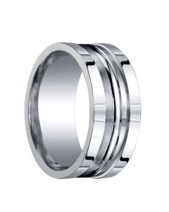 BINGHAM Recessed Brushed Center Silver Wedding Band with Center Groove by Benchmark - 10mm