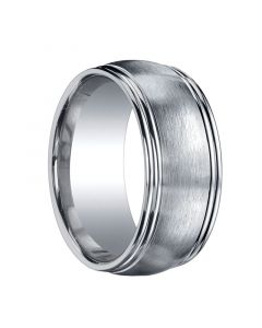 RICHFIELD Extra Wide Domed Brushed Center Silver Wedding Band by Benchmark - 10mm