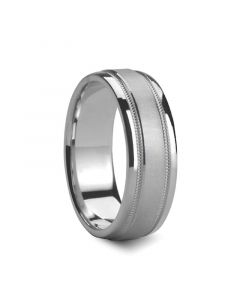 ZENO Satin Finished Center Silver Ring with Dual Milgrains by Novell - 6mm - 8mm
