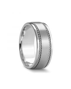 DUROS Dual Woven Inlays with Satin Finish Center Silver Wedding Band by Novell - 7mm & 8mm