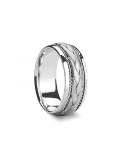 GENESIS Braided Pattern Center Silver Wedding Band by Novell - 8mm