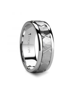 PYRRHUS  Raised Hammered Center with Carved X Cuts Silver Wedding Band by Novell - 7mm & 8mm