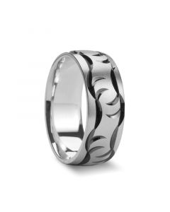 STATHIOS Carved Claw Marked Palladium Ring by Novell - 7mm & 8mm