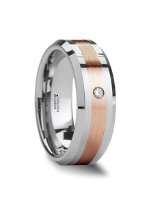 ENZO Rose Gold Inlaid Beveled Tungsten Ring with Diamond - 6mm & 8mm
