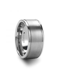 JACKSONVILLE Wide Flat Brush Finished Center Tungsten Carbide Ring - 10mm