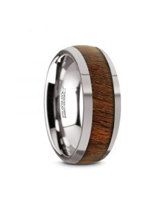 JUGLAN Tungsten Carbide Polished Finish Men's Domed Wedding Ring with Exotic Black Walnut Wood Inlay - 8mm