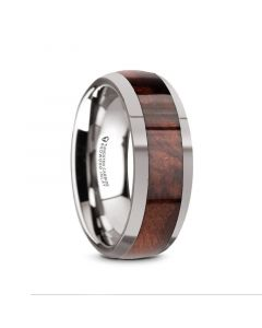 GROVE Men's Tungsten Polished Edges Domed Wedding Ring with Redwood Inlay - 8mm
