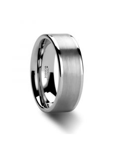 WAYNE Flat White Tungsten Wedding Band with Brushed Finished Center - 4mm - 8mm