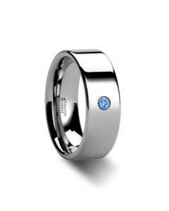 PEMBROKE Flat Style Polished Tungsten Blue Diamond Ring - 6mm & 8mm