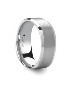 STERLING Square Shape White Tungsten Ring with Brush Finished Center - 8mm