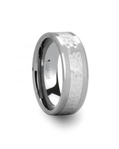 STANFORD Tungsten Ring with Hammered Finished Center - 8mm