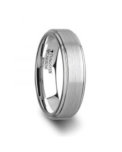 ORLOFF White Tungsten Ring with Raised Brush Finished Center - 6mm - 8mm