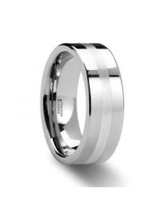 GEMINI Pipe Cut Tungsten Carbide Ring with Silver Inlaid 6mm & 8mm