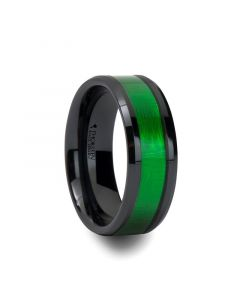 IRVING Beveled Black Ceramic Ring with Textured Green Inlay - 8mm