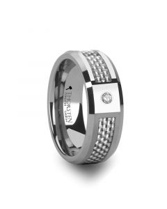 ROYCE Tungsten Wedding Band with White Carbon Fiber and White Diamond Setting - 8mm