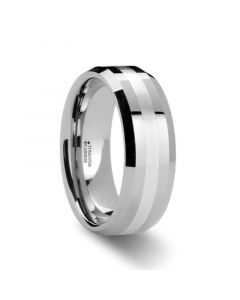 VECTOR Silver Inlaid Beveled Tungsten Ring - 6mm & 8 mm