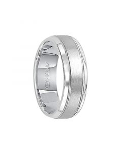 TURIN Palladium Ring with Satin Finish Center and Dual Offset Milgrains by ArtCarved - 7 mm