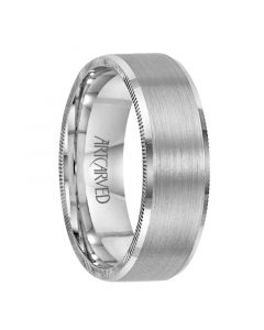 ELLIOT Palladium Wedding Band with Brushed Center and Coin Edged Sides by ArtCarved - 4mm - 8mm