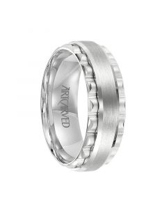 DRISCOLL 14K White Gold Ring with Raised Brushed Center and Gear Teeth Sides by ArtCarved Rings - 7.5 mm