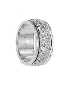 DURWIN Palladium Wedding Band with Floral Pattern Center by Artcarved Rings - 8 mm