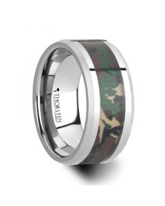 COMMANDO Tungsten Wedding Ring with Military Style Jungle Camouflage Inlay - 10 mm