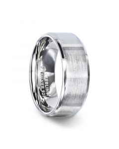 CASPER Silver Brushed Center Flat Style Wedding Band With Beveled Edges - 4mm & 8mm