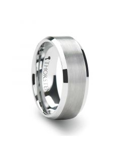 SHEFFIELD Flat Beveled Edges Tungsten Ring with Brushed Center - 4mm - 12mm