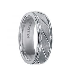 FERGUSON Tungsten Carbide Ring with Flat Satin Finish Center and Bright Diagonal Cuts by Triton Rings - 7 mm