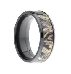 BAIKAL Beveled Black Zirconium Ring with Real Tree Camo Inlay by Lashbrook Designs - 8mm