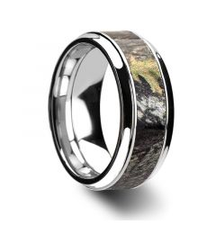 BLASER Rasied Center Cobalt Chrome Ring with Mossy Oak Camo Inlay by Lashbrook Designs - 9mm