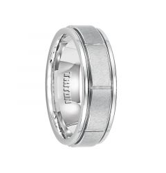 FINBAR White Tungsten Carbide Ring with Raised Brushed Center and Vertical Cuts by Triton Rings - 7 mm