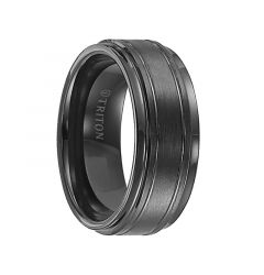 FRASIER Step Edge Black Tungsten Carbide Ring with Raised Brushed Center and Polished Offset Grooves by Triton Rings - 9 mm