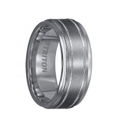 FREDERICK Step Edge Tungsten Carbide Ring with Raised Brushed Center and Polished Offset Grooves by Triton Rings - 9 mm