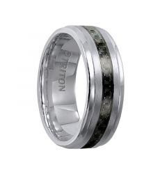 GABRIEL Polished Step Edge Comfort Fit Tungsten Carbide Band with Raised Brushed Center and Black Carbon Fiber Inlay by Triton Rings - 8 mm