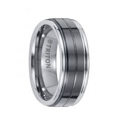GODDARD Polished Finish Tungsten Carbide Ring with Polished Grooved Black Ceramic Center by Triton Rings - 8 mm