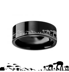 Hoth Battle Star Wars Alliance Galactic Imperial Invasion ATAT ATST Black Tungsten Engraved Ring - 4mm - 12mm