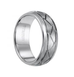 HARLAND Domed Tungsten Comfort Fit Ring Brushed Finish Diagonal Cuts and Dual Grooves by Triton Rings - 8 mm