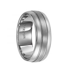 HARLEY Domed Tungsten Carbide Ring with Brush Finish Center and Dual Offset Grooves by Triton Rings - 8 mm