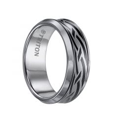 IAN Beveled Concave Tungsten Carbide Wedding Band with Celtic Knot Pattern Engraving and Black Details by Triton Rings - 8 mm